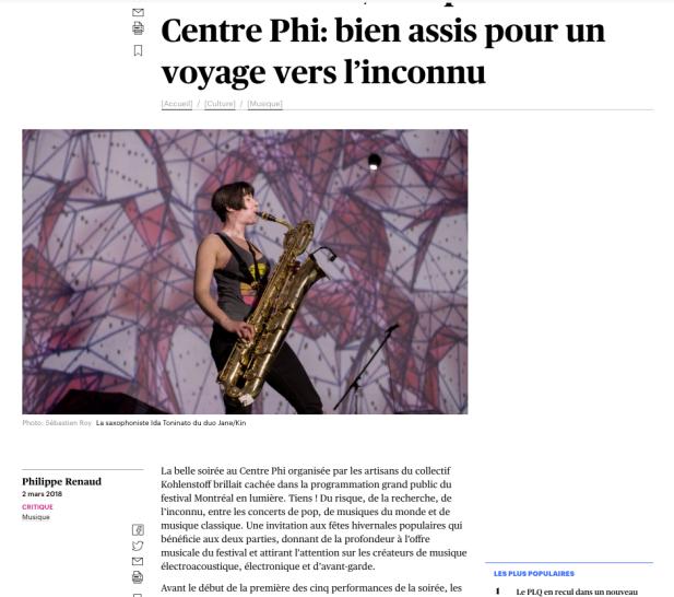 PHI - DEVOIR 2 - Ida Toninato - Kohlenstoff records collectif montréal