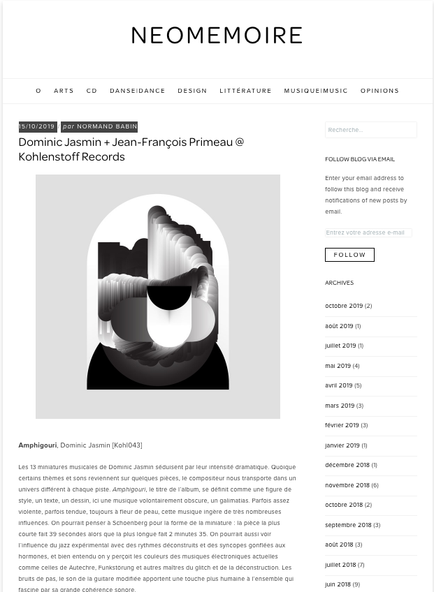 NEOMEMOIRE - Dominic Jasmin + Jean-François Primeau @ Kohlenstoff Records